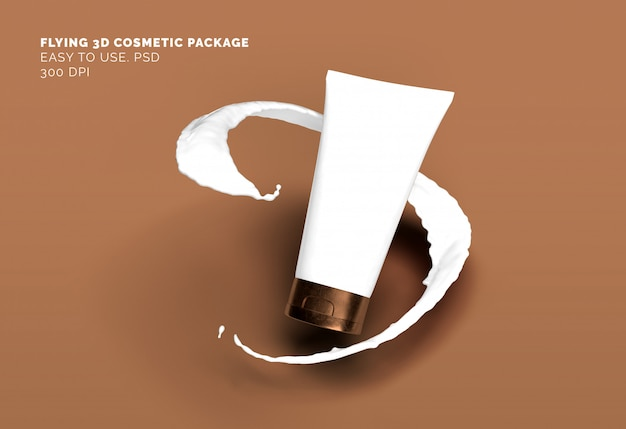 Flying cosmetic tube mockup Premium Psd