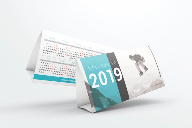 Flying desk calendars mockup Premium Psd