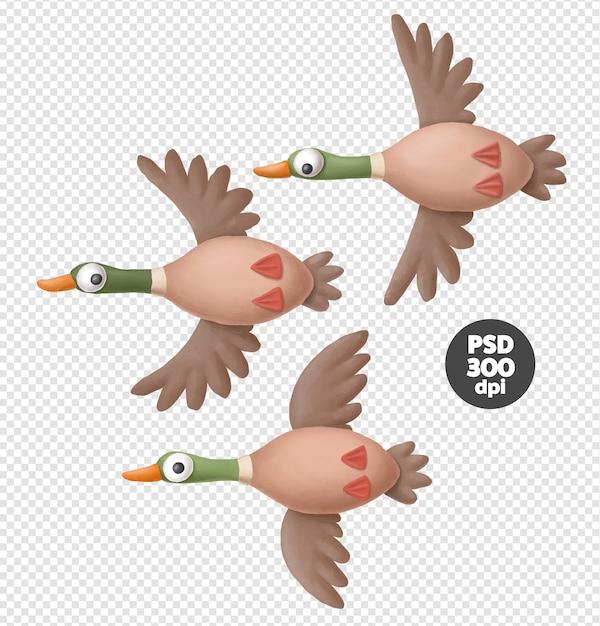 Flying ducks Premium Psd