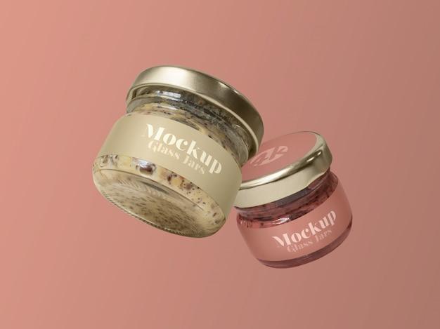 Flying glass jars mockup Premium Psd
