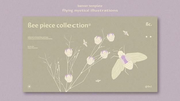 신비로운 나방과 꽃 배너 웹 템플릿 비행 무료 PSD 파일
