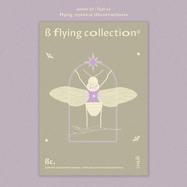 신비로운 나방 포스터 템플릿 비행 무료 PSD 파일