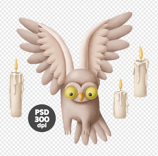 Flying owl illustration Premium Psd
