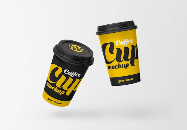 Flying paper coffee cup mockup Premium Psd