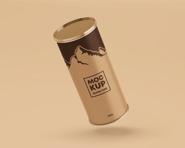 Flying paper tube mockup Premium Psd