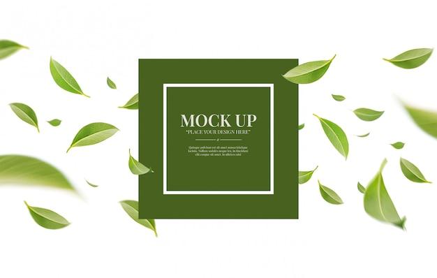 복사 공간 이랑 템플릿 흰색 배경에 고립 된 비행 소용돌이 녹색 잎 프리미엄 PSD 파일