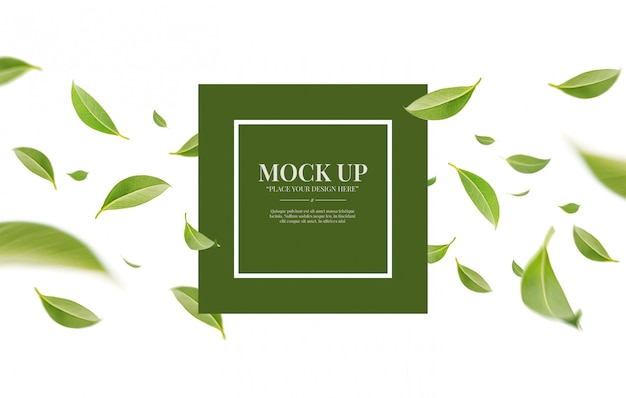 Flying whirl green leaves isolated on white background with copy space mockup template Premium Psd