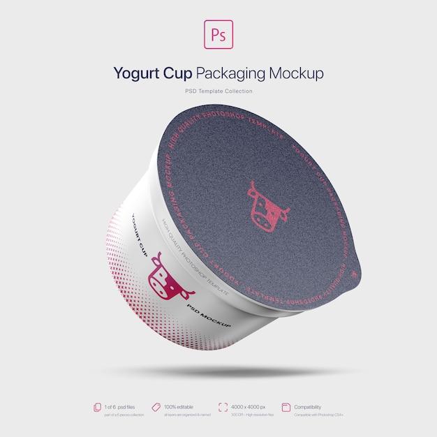 플라잉 요구르트 컵 포장 이랑 프리미엄 PSD 파일