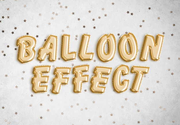 Foil balloon text effect Premium Psd