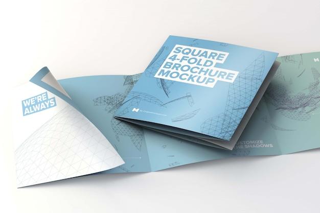 折り畳まれた正方形4折りパンフレットモックアップ Premium Psd