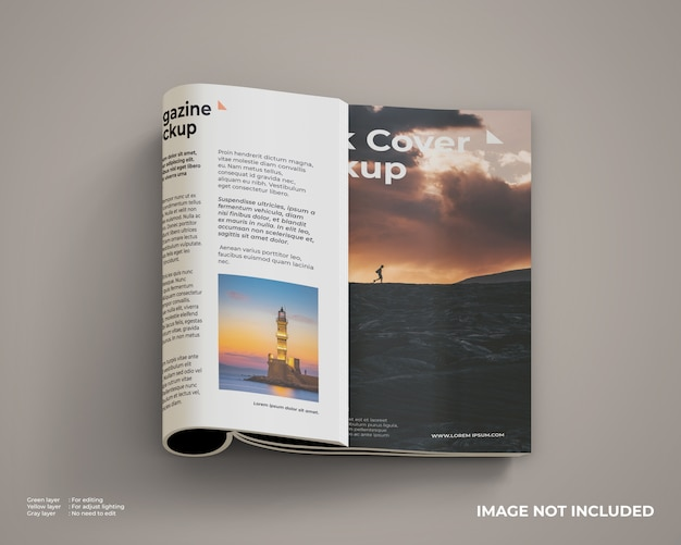 Folded magazine mockup right side inside and front cover Premium Psd