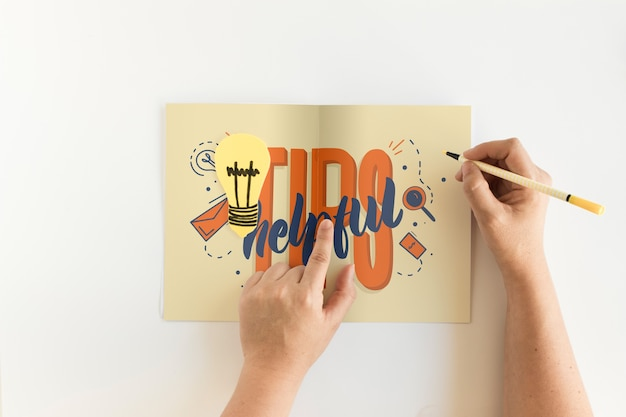 Folded paper mockup with tips concept PSD file   Free Download