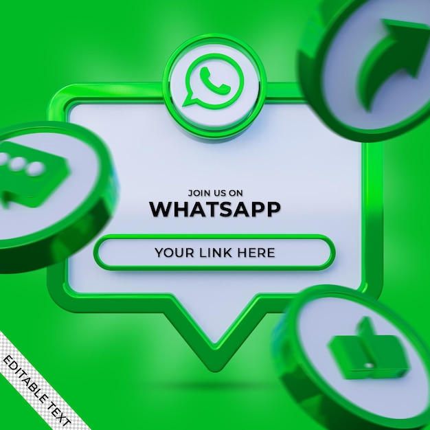 Follow us on whatsapp social media square banner with 3d logo and link profile