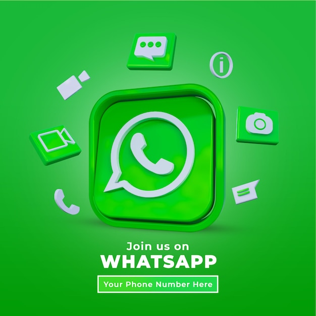 Follow us on whatsapp social media square post with 3d logo and link profile