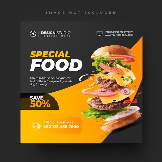 Еда и ресторан социальные медиа пост и квадратный баннер дизайн шаблона Premium Psd