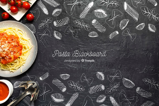 Food background pasta with tomatoes Free Psd