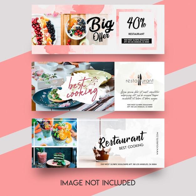 Food banner facebook template set Premium Psd