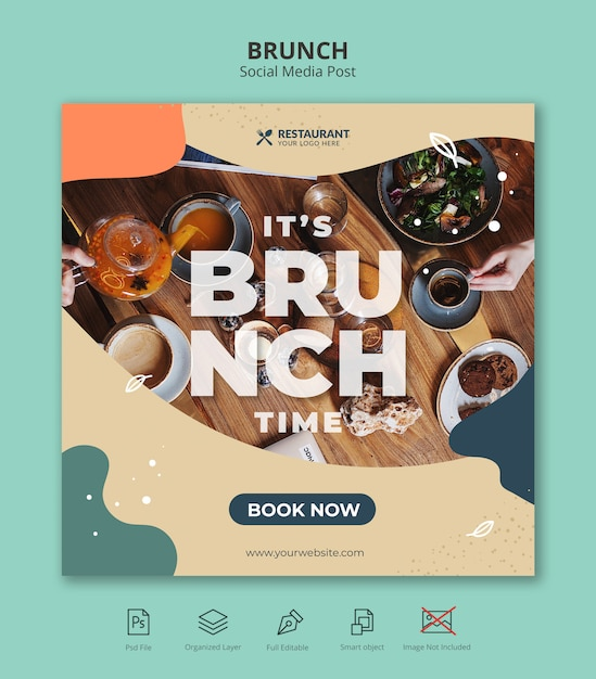 Food brunch social media square instagram post template Premium Psd