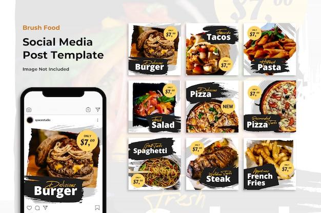 Food brush социальные медиа баннер instagram минималистские шаблоны Premium Psd