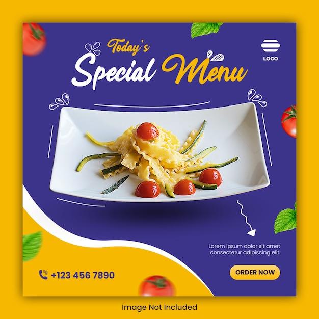 食品料理ソーシャルメディアの投稿テンプレート Premium Psd