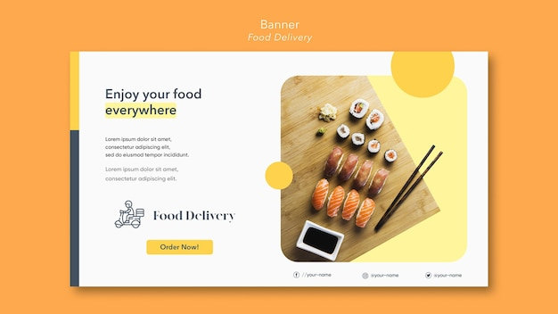 Food delivery banner template Free Psd