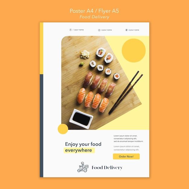 Шаблон плаката доставки еды Бесплатные Psd