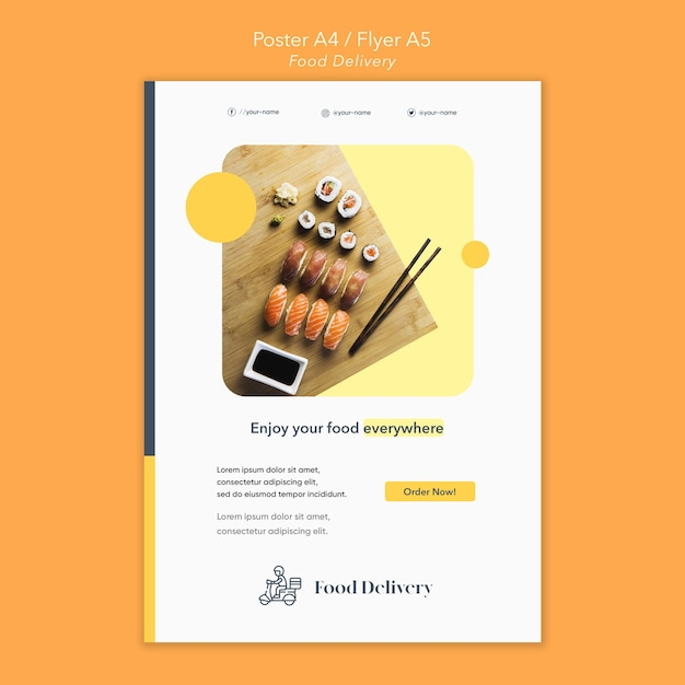 Food delivery poster template Free Psd