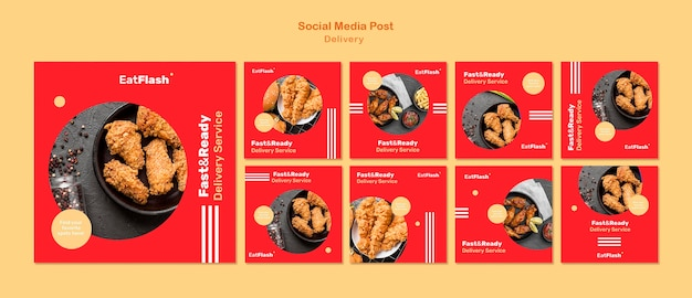 Food delivery social media posts Free Psd