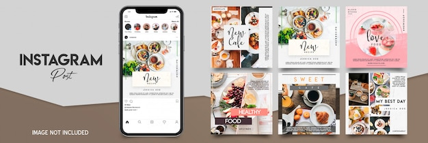 Food instagram post template set Premium Psd