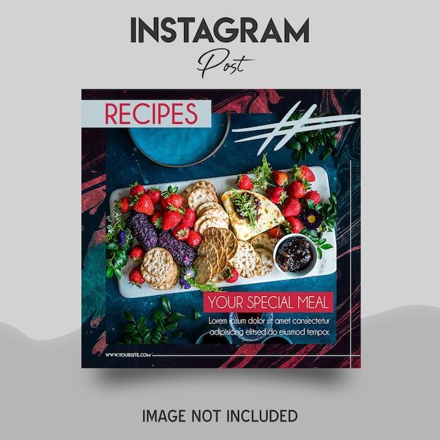 음식 Instagram 게시물 템플릿 프리미엄 PSD 파일