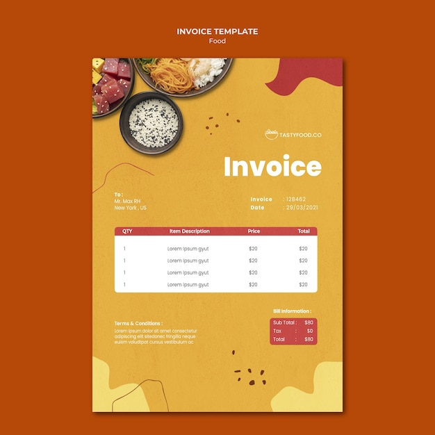 Free Psd Food Invoice Template