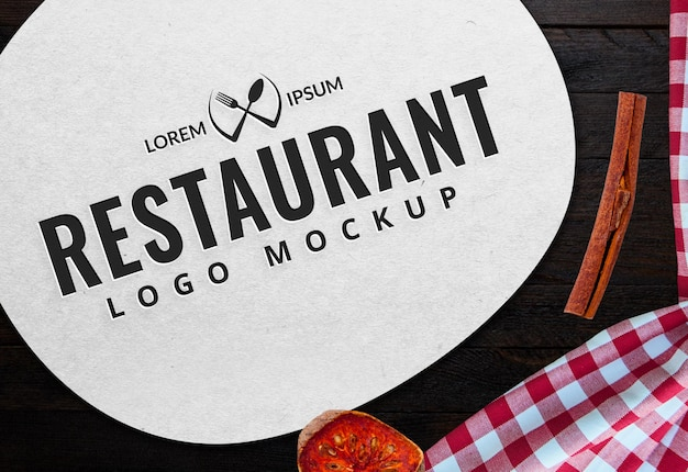 Food logo mockup food background light fast food logo design Premium Psd