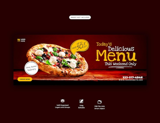 フードメニューと美味しいピザカバーバナーテンプレート Premium Psd