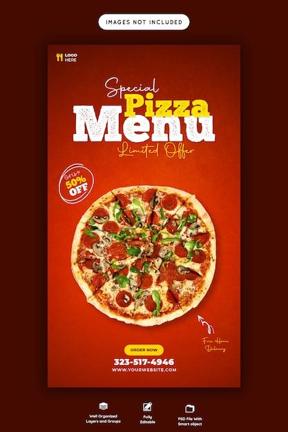 フードメニューとおいしいピザinstagramとfacebookのストーリーテンプレート Premium Psd