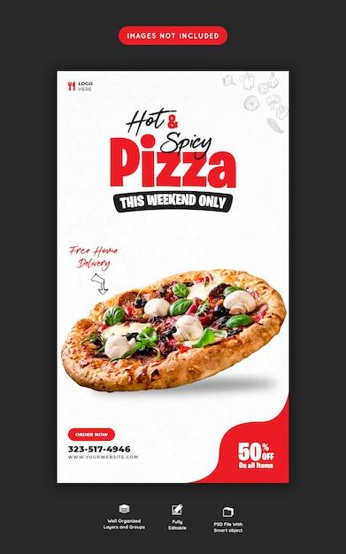 フードメニューとおいしいピザinstagramとソーシャルメディアストーリーテンプレート Premium Psd