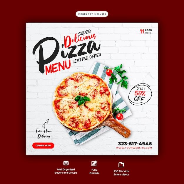 フードメニューとおいしいピザのソーシャルメディアバナーテンプレート Premium Psd