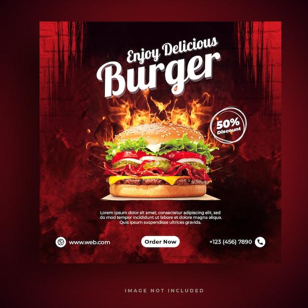 フードメニューとレストランのハンバーガーソーシャルメディアバナーテンプレート Premium Psd