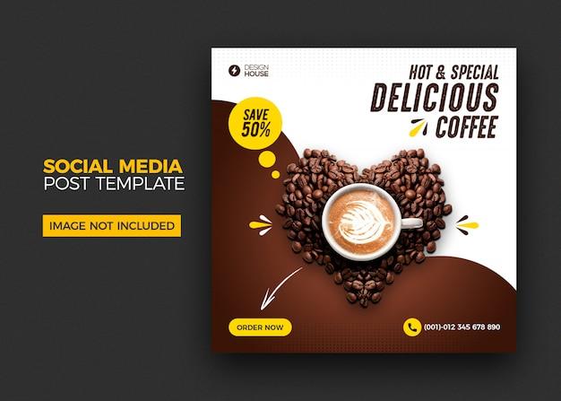 Пищевое меню и ресторан кофе в социальных сетях опубликовать шаблон Premium Psd