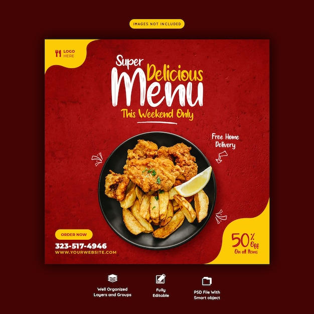 Шаблон баннера меню еды и ресторана в социальных сетях Бесплатные Psd