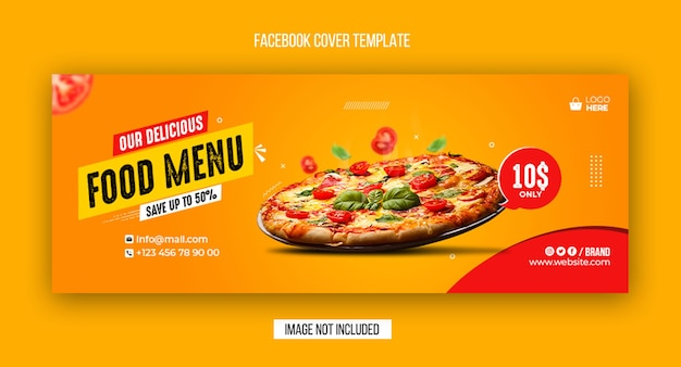 Food menu and restaurant facebook cover and web banner template design Premium Psd
