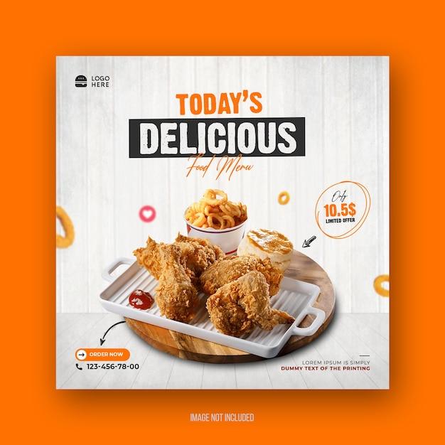 Food menu and restaurant promotion social media post square restaurant flyer template Premium Psd