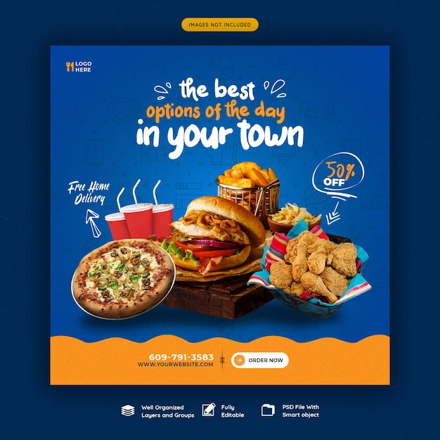 Food menu and restaurant social media banner template Free Psd