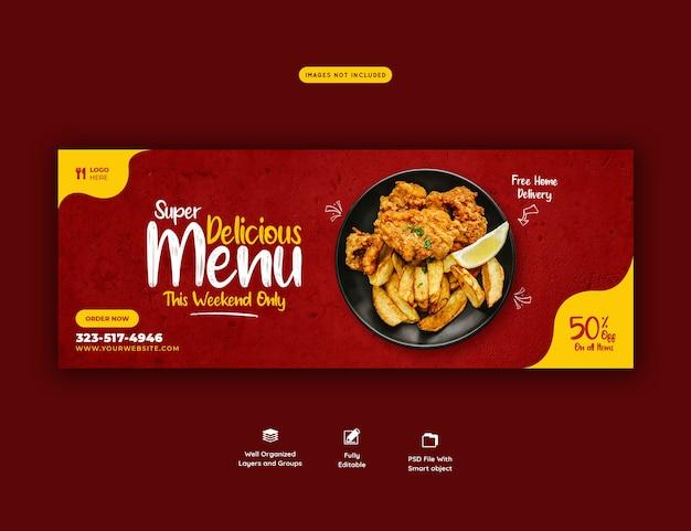 Food menu and restaurant social media cover template Free Psd