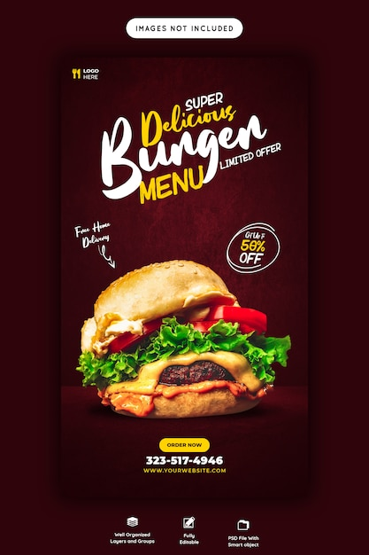 Food menu template for instagram and facebook story Premium Psd
