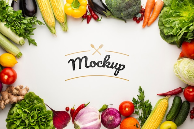 Food mock-up with frame made from delicious fresh veggies Premium Psd