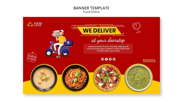 음식 온라인 개념 배너 모형 무료 PSD 파일