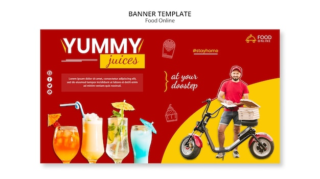Food online concept banner mock-up Free Psd
