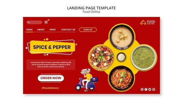 Mock-up della pagina di destinazione del concetto online di cibo Psd Gratuite