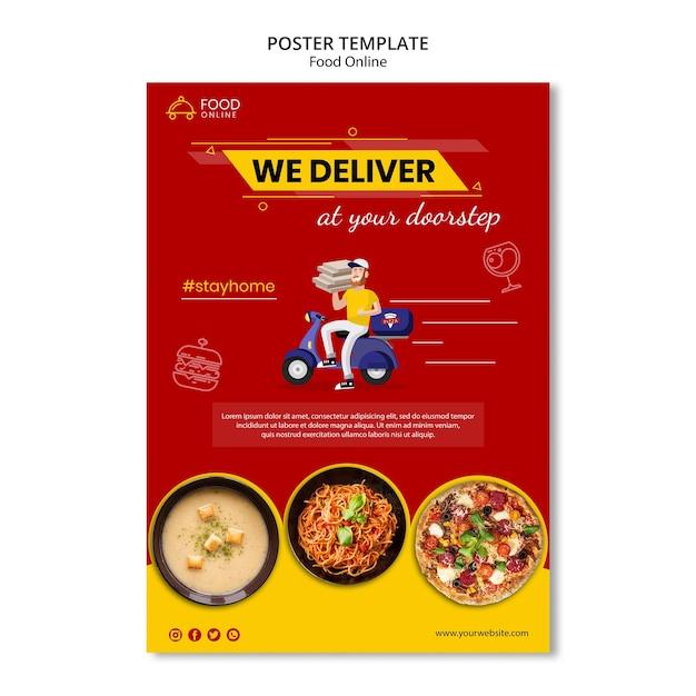 음식 온라인 개념 포스터 목업 무료 PSD 파일