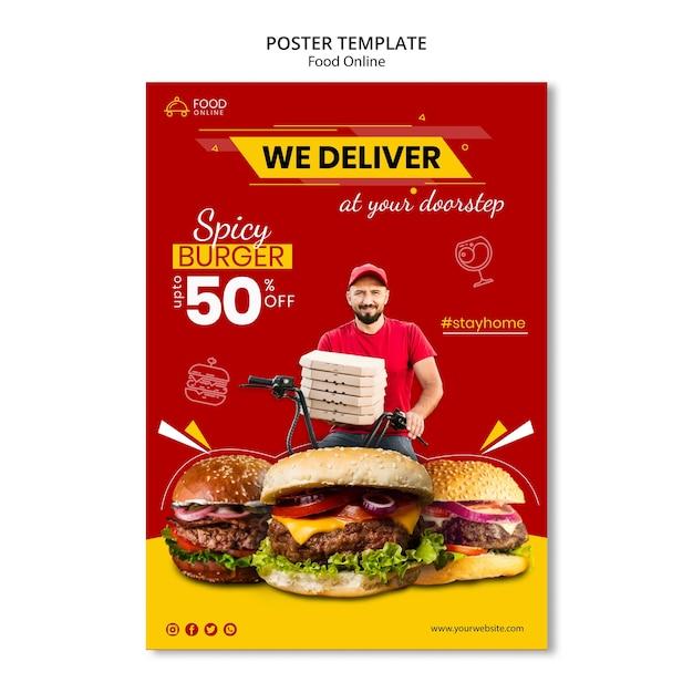 Mock-up di poster di concetto online di cibo Psd Gratuite